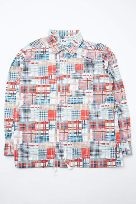 AiE Cotton Patchwork Plaid Print Coach Shirt - Multi Color