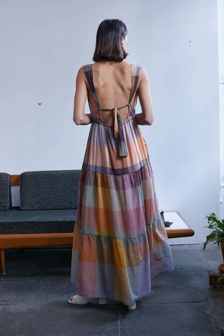 RUJUTA SHETH Gema Tier Dress - Dusk Multi Chex