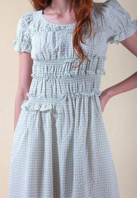 NEUL Puff Sleeve Smocked Dress - pastel green/gingham check