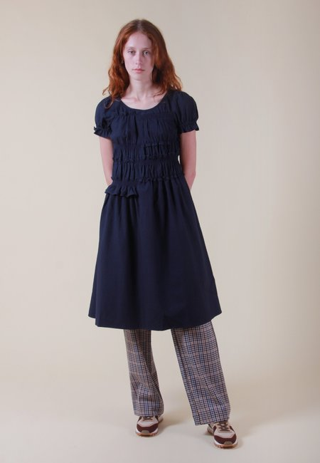 NEUL Puff Sleeve Smocked Seersucker Dress - navy