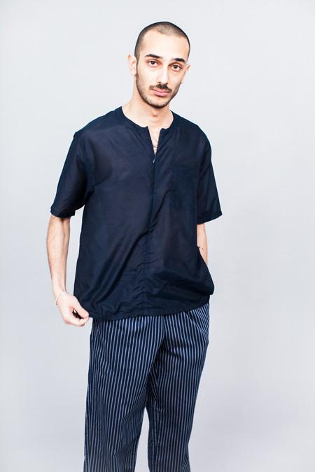 DDUGOFF Half Zip Pocket T-Shirt Sheer Navy Cotton/Silk