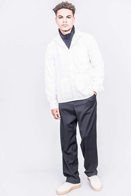 DDUGOFF Sol Four Pocket Shirt Bright White Brushed Oxford
