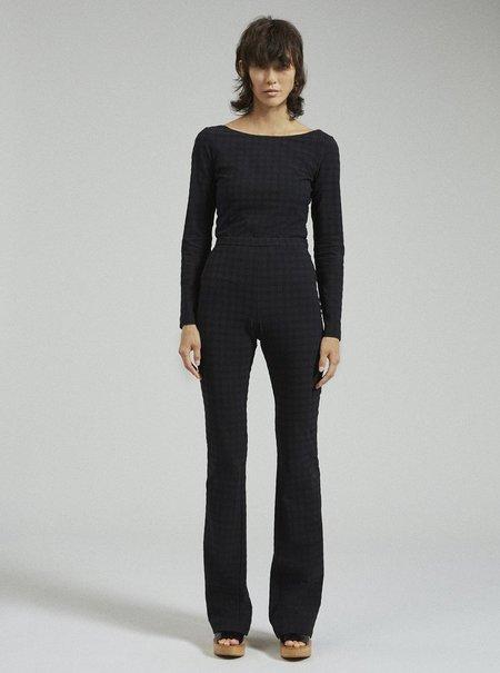 Rachel Comey Switzer Pant - Black Stretchy Solid Plaid
