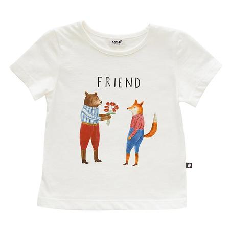 Kids Oeuf  T-shirt - Gardenia Cream/Friend Print
