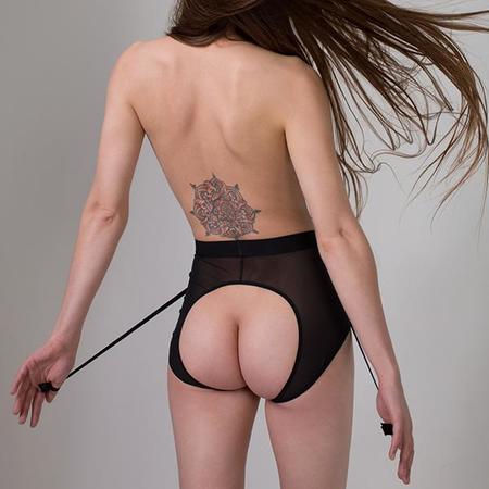 La Fille D'o Trouble High Waisted Suspender Belt with Garters - Black
