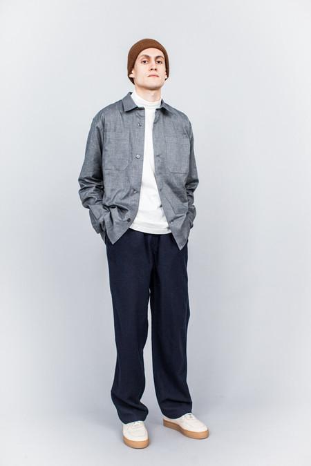 MHL Margaret Howell Big Pocket Shirt Brushed Twill Mid Grey