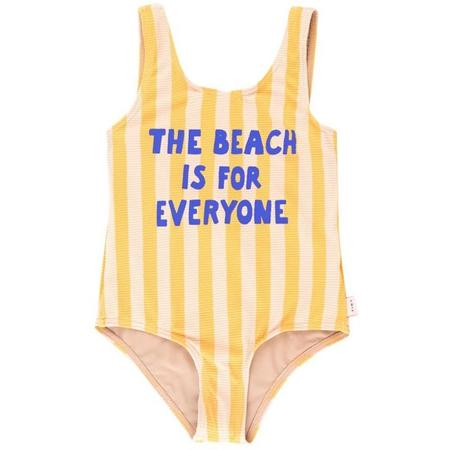 kids tinycottons the beach is for everyone swimsuit - yellow/light cream