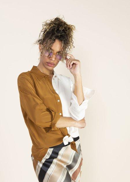 Summum Woman Fluid Colourblock Blouse - Walnut