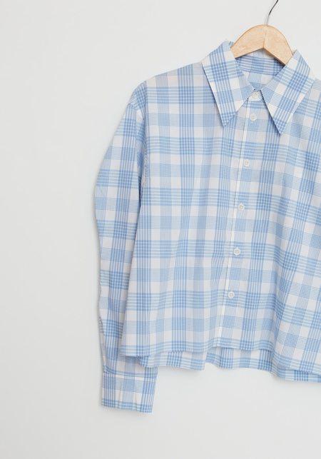 Tibi Plaid Scallop Sleeve Cropped Shirt  - white/blue