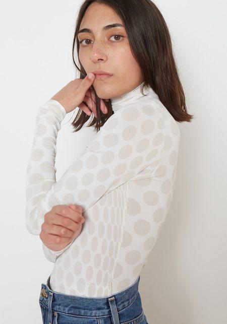 Maison Margiela MM6 Jersey Viscose Stretch Polka Dot Turtleneck - Off White