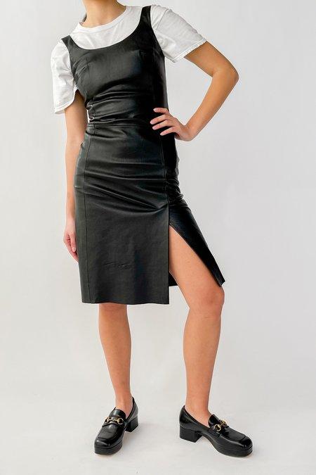 Vintage Paneled Leather Slit Dress - Black