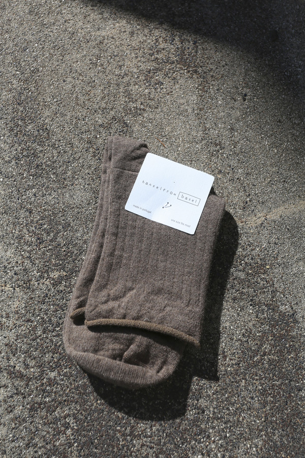 Hansel From Basel Superfine Cashmere Roll Top Short Crew Sock in Llama