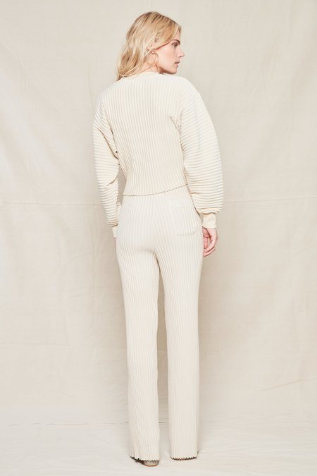 JOHN ELLIOTT COLLECTION Ribbed Terry Cropped Sweatshirt - CLOUD