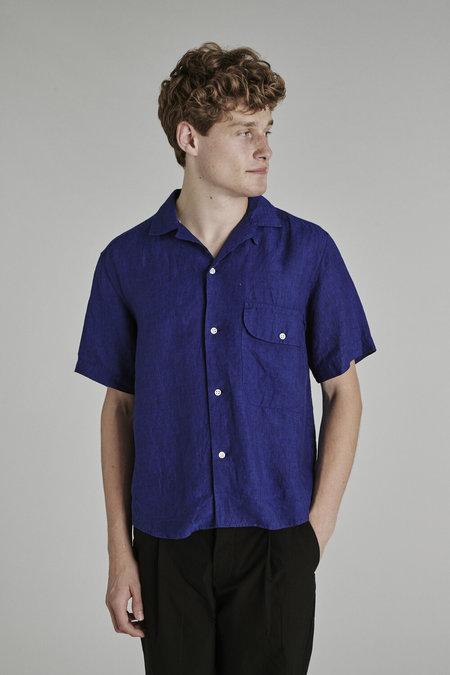 Delikatessen SS21 Camp Collar Shirt - Cobalt Blue Bohemian Linen