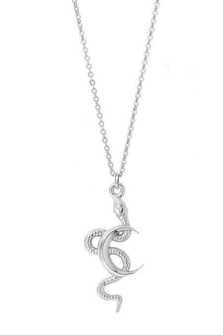 Talon Snake Moon Necklace - Sterling Silver