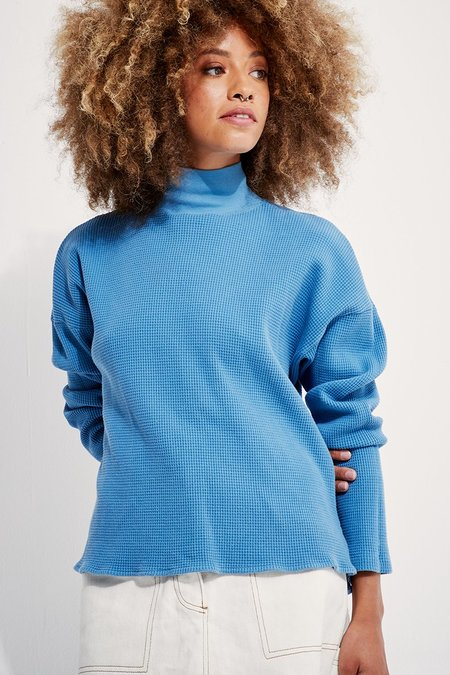 back beat rags Organic Cotton Waffle Thermal Top - Marine