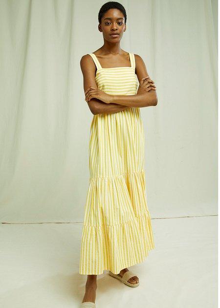 People Tree Lea Stripe Dress - Yellow