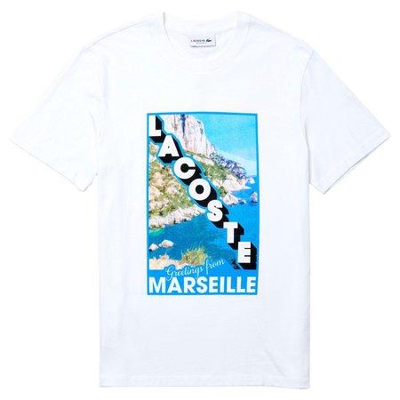Lacoste Crew Neck Landscape Print Cotton T-shirt