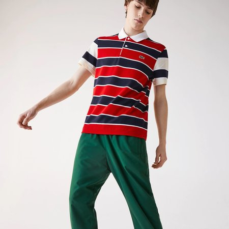 Lacoste Regular Fit Striped Ultra-Lightweight Knit Polo Shirt