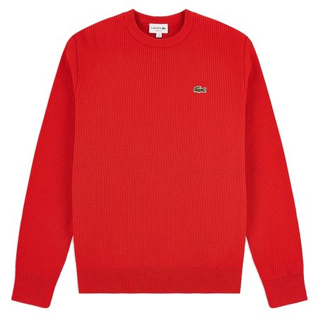 Lacoste Crew Neck Cotton Sweater - Red