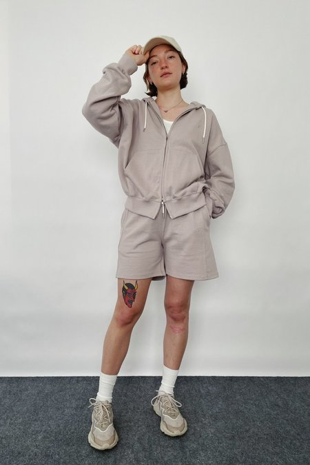 JOWA. ZIP UP HOOD TOP + SHORTS SET - LILAC