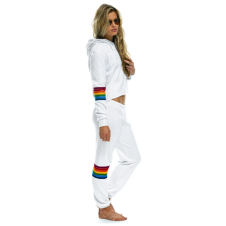 Aviator Nation Rainbow Stitch Sweats - White