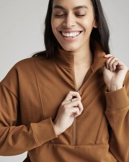 Richer Poorer Terry Half Zip Pullover - Woodgrain