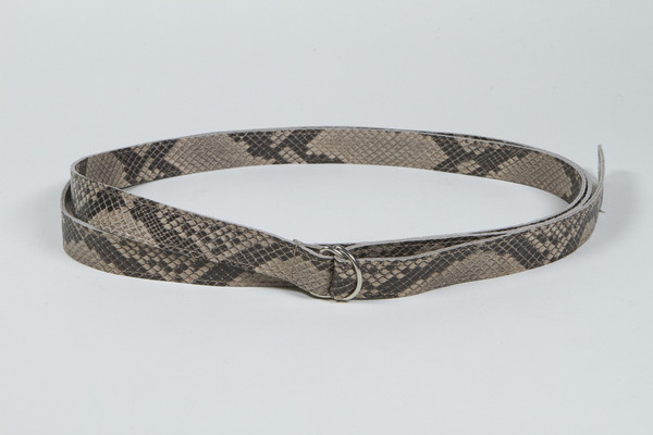 Clyde Copy of Double D Ring Belt in Python Embossed Calf Leather