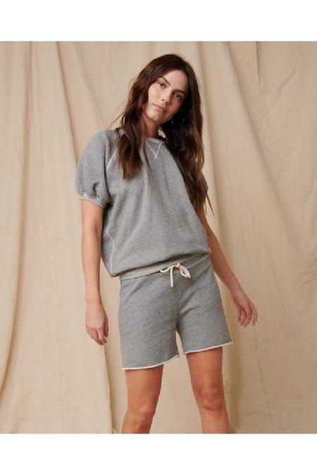 The Great. The Short Sleeve Puff Sweatshirt - Varsity Grey
