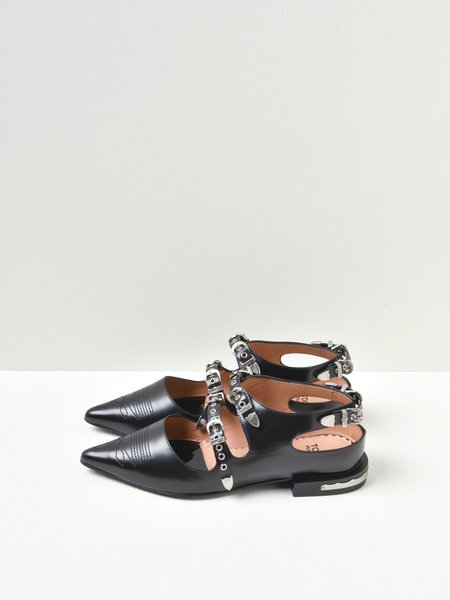 Toga Pulla Buckled Pointed Loafers - Black Pulido