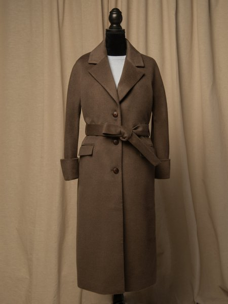 PURECASHMERE NYC Belted Coat - Cocoa Brown