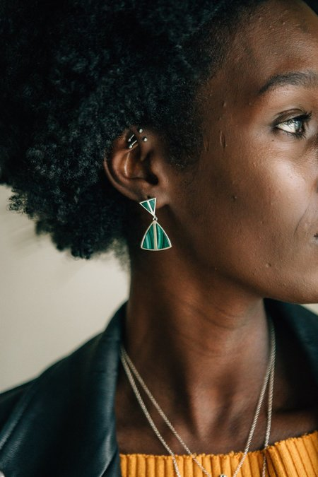 Sierra Winter Jewelry Jolene Earrings - Malachite/Sterling Silver