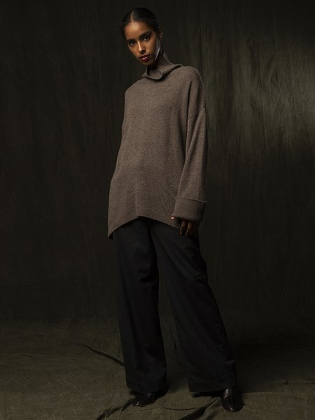 PURECASHMERE NYC High Neck Oversized Sweater - Heather Brown