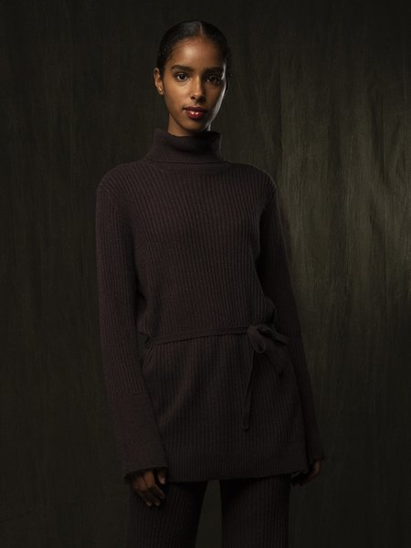 PURECASHMERE NYC Long Turtleneck Loose Fit Tunic - Castle Brown