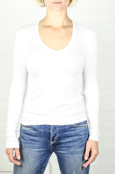 ATM Anthony Thomas Melillo White Long Sleeve V-Neck Rib Shirt