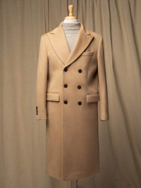 PURECASHMERE NYC Men Tailored Double Breasted Coat - Camel