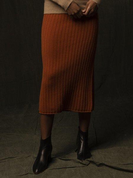 PURECASHMERE NYC Rib Midi Skirt - Heather Orange