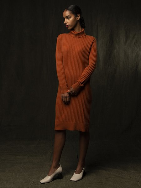 PURECASHMERE NYC Rib Turtleneck Dress - Heather Orange