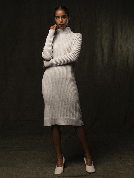 PURECASHMERE NYC Rib Turtleneck Dress - Light Grey