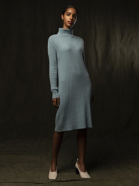 PURECASHMERE NYC Rib Turtleneck Dress - Steel Blue