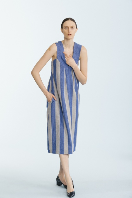 Carleen Pleat Shoulder Dress - Blue