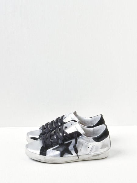 Golden Goose Superstar Suede Star Sneakers - Silver/Black