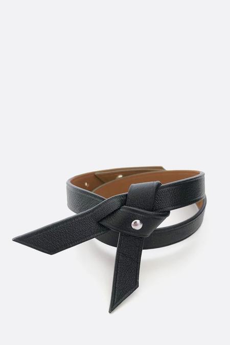 Phi 1.618 Double Twist Leather Bracelet - Black