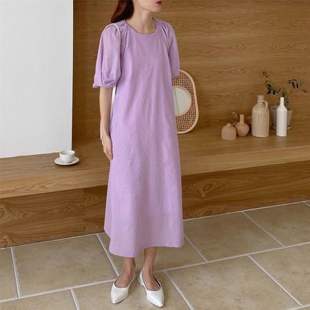 OPUSION Short Sleeve Loose Fit Maxi Dress- Purple/White/Navy