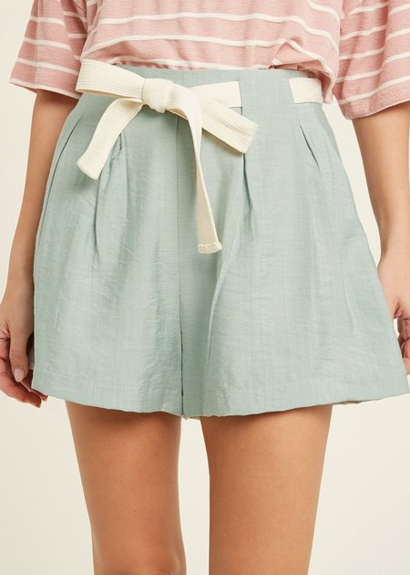 Mabel and Moss Basil Tie Shorts - Mint