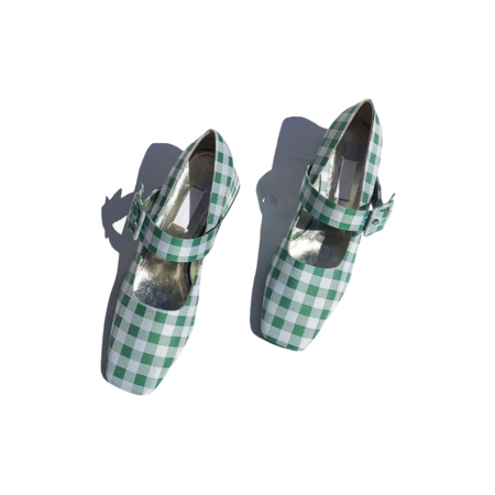 Suzanne Rae Vichy Closed Mary Jane - Green Gingham