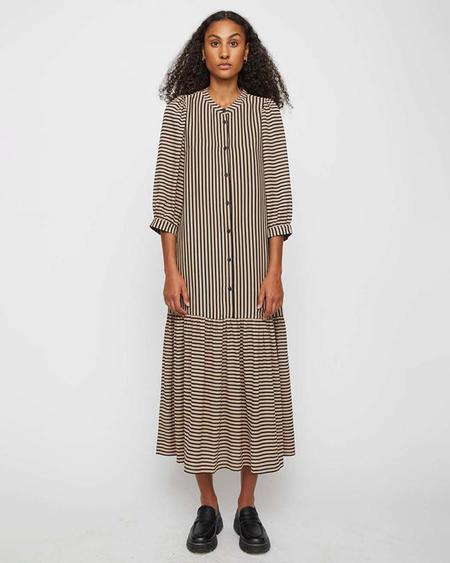 JUST FEMALE Colorado Maxi Dress - Cobblestone Stripe