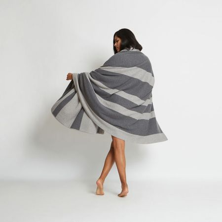 Santicler Reversible Striped Cashmere Blanket - Charcoal Combo