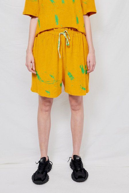 Woodrose Deli Terry Splatter Basketball Short - Yellow