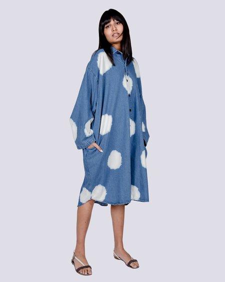 69 Big button-up dots shirt dress - denim bleached dots